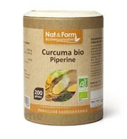 Nat&form Eco Responsable Curcuma + Pipérine Bio Gélules B/200 à SEYNOD